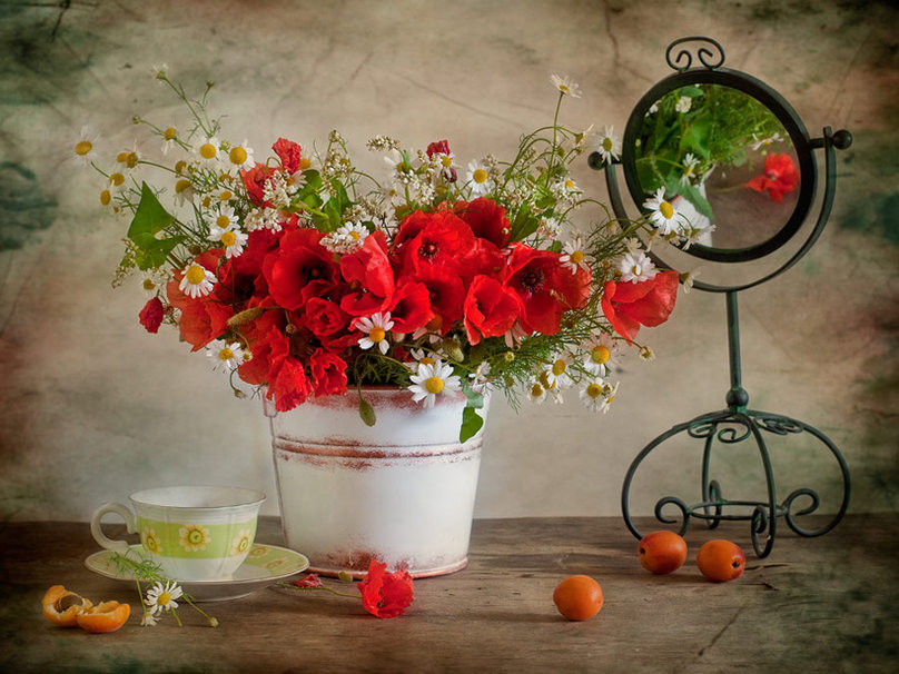 bouquet de coquelicots avec marguerites